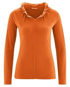 DINAH dámské triko s dlouhým rukávem z biobavlny a konopí - oranžová pumpkin
