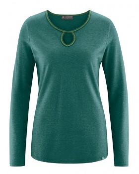 NORA dámské triko z konopí a biobavlny - zelená spruce