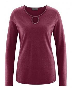 NORA dámské triko z konopí a biobavlny - červená rioja