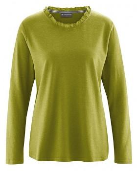 SAMANTHA dámské triko s dlouhým rukávem z konopí a biobavlny - zelená fern