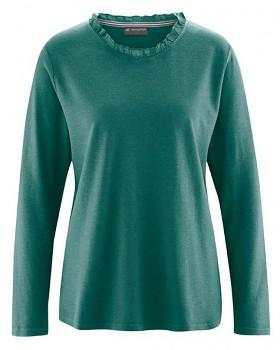 SAMANTHA dámské triko s dlouhým rukávem z konopí a biobavlny - zelená spruce