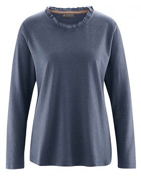 SAMANTHA dámské triko s dlouhým rukávem z konopí a biobavlny - tmavě modrá wintersky