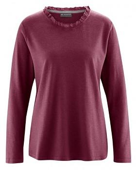 SAMANTHA dámské triko s dlouhým rukávem z konopí a biobavlny - fialová rioja