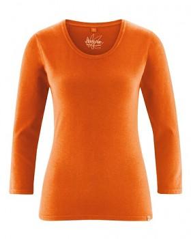 MIA dámské triko se 7/8 rukávy z biobavlny a konopí - oranžová pumpkin