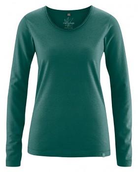 LENE dámské triko s dlouhými rukávy z konopí a biobavlny - zelená spruce