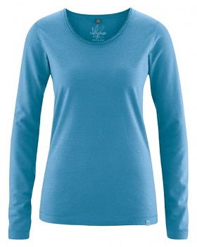 LENE dámské triko s dlouhými rukávy z konopí a biobavlny - modrá atlantic
