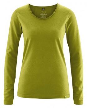 LENE dámské triko s dlouhými rukávy z konopí a biobavlny - zelená fern