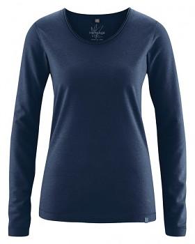 LENE dámské triko s dlouhými rukávy z konopí a biobavlny - tmavě modrá navy