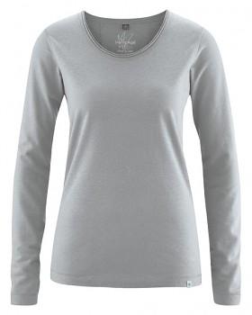 LENE dámské triko s dlouhými rukávy z konopí a biobavlny - světle šedá rock
