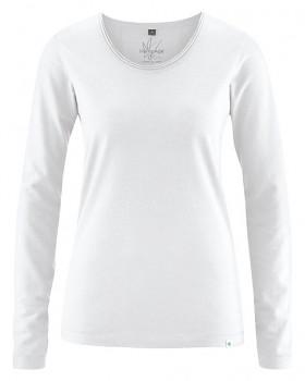 LENE dámské triko s dlouhými rukávy z konopí a biobavlny - bílá