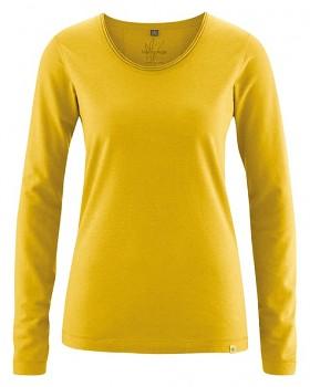 LENE dámské triko s dlouhými rukávy z konopí a biobavlny - žlutá curry