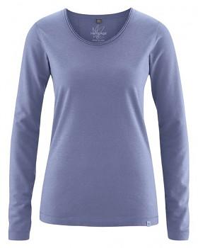 LENE dámské triko s dlouhými rukávy z konopí a biobavlny - fialová lavender