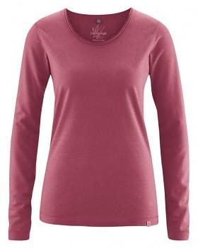 LENE dámské triko s dlouhými rukávy z konopí a biobavlny - červená tinto