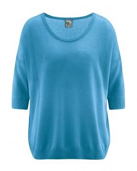 PEARL dámský pulovr z konopí a biobavlny - modrá atlantic