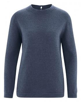 ELISE dámský pulovr z vlny, biobavlny a konopí - tmavě modrá wintersky