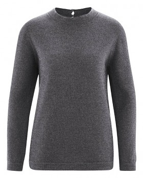 ELISE dámský pulovr z vlny, biobavlny a konopí - šedá antracit