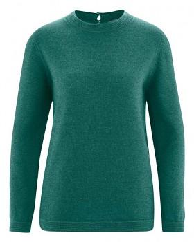 ELISE dámský pulovr z vlny, biobavlny a konopí - zelená spruce