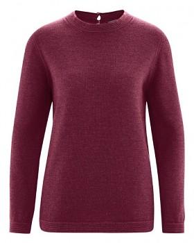 ELISE dámský pulovr z vlny, biobavlny a konopí - fialová rioja