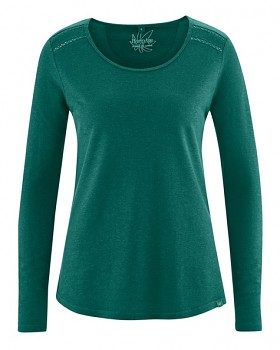 LILLIE dámské triko s dlouhými rukávy z konopí a biobavlny - zelená spruce