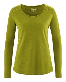 LILLIE dámské triko s dlouhými rukávy z konopí a biobavlny - zelená fern