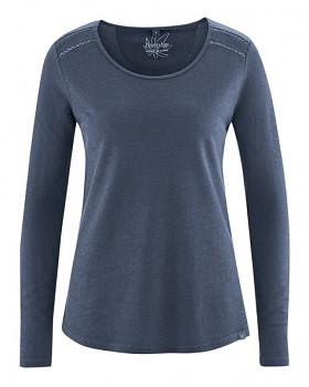 LILLIE dámské triko s dlouhými rukávy z konopí a biobavlny - tmavě modrá wintersky