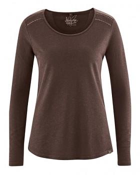 LILLIE dámské triko s dlouhými rukávy z konopí a biobavlny - hnědá čokoládová
