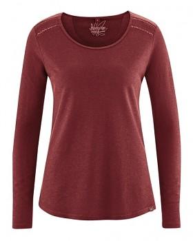 LILLIE dámské triko s dlouhými rukávy z konopí a biobavlny - červenohnědá chestnut