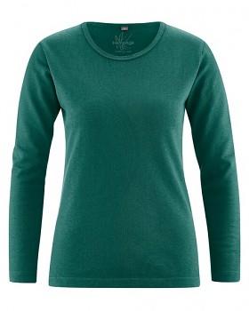 NAOMI dámské triko s dlouhým rukávem z konopí a biobavlny - zelená spruce