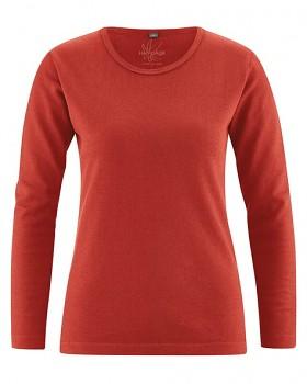 NAOMI dámské triko s dlouhým rukávem z konopí a biobavlny - červená šípková