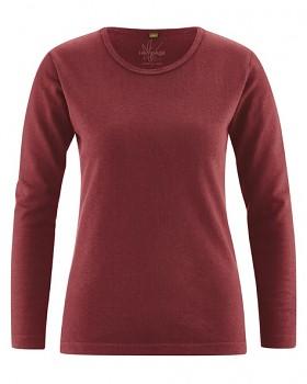 NAOMI dámské triko s dlouhým rukávem z konopí a biobavlny - červenohnědá chestnut
