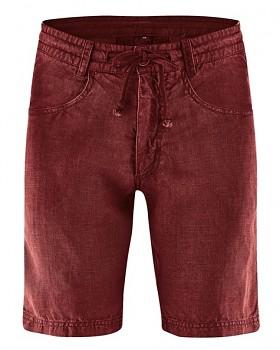 MANELLO unisex šortky ze 100% konopí - červená chestnut