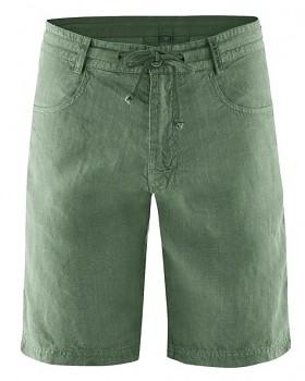 MANELLO unisex šortky ze 100% konopí - zelená herb