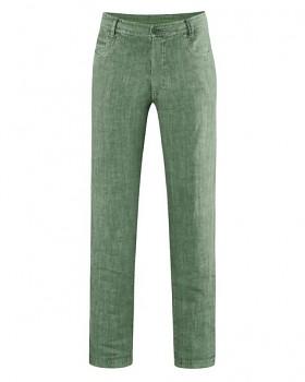 METRO unisex kalhoty ze 100% konopí - zelená herb