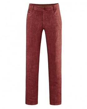 METRO unisex kalhoty ze 100% konopí - červená chestnut