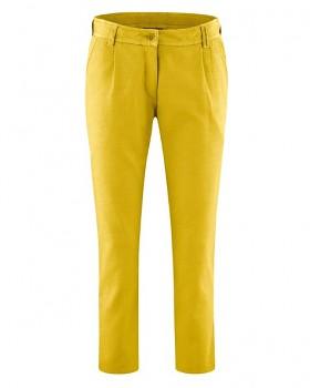 LYLA dámské 7/8 kalhoty z biobavlny a konopí - žlutá curry