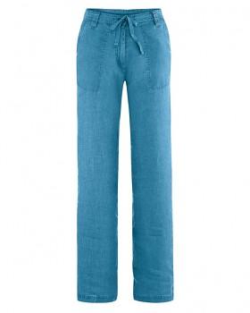 SUMMER dámské kalhoty ze 100% konopí - modrá atlantic