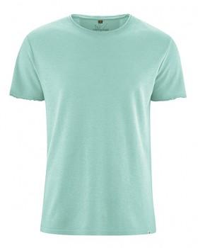HENRYK pánské tričko s krátkým rukávem z konopí a biobavlny - světle modrá sage