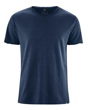 HENRYK pánské tričko s krátkým rukávem z konopí a biobavlny - tmavě modrá navy