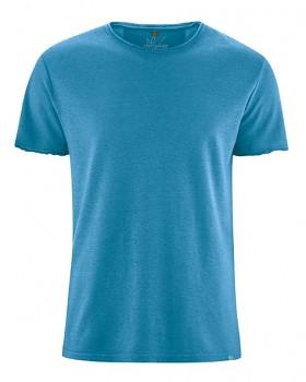 HENRYK pánské tričko s krátkým rukávem z konopí a biobavlny - modrá atlantic