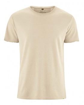 HENRYK pánské tričko s krátkým rukávem z konopí a biobavlny - béžová gobi
