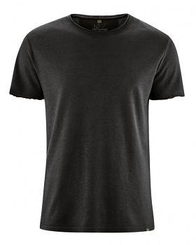 HENRYK pánské tričko s krátkým rukávem z konopí a biobavlny - černá