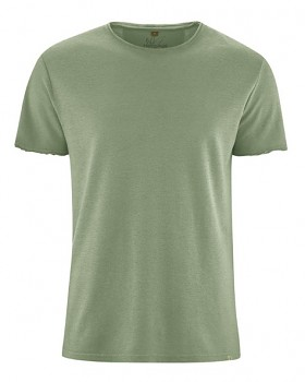 HENRYK pánské tričko s krátkým rukávem z konopí a biobavlny - zelená cactus