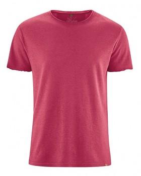 HENRYK pánské tričko s krátkým rukávem z konopí a biobavlny - červená sangria
