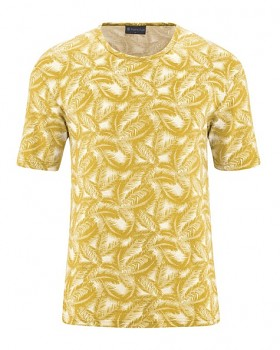 PALM pánské tričko s krátkým rukávem z konopí a biobavlny - žlutá curry