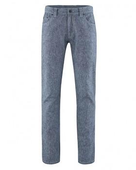 AIDEN pánské kalhoty z konopí a biobavlny - modrá indigo melange