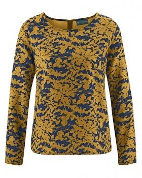JAYLEE dámská halenka s dlouhými rukávy z konopí a biobavlny - žlutá peanut/ modrá navy