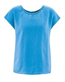 SPITZ dámský top s krátkými rukávy ze 100% konopí - modrá topaz