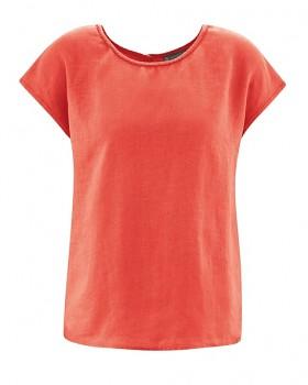 SPITZ dámský top s krátkými rukávy ze 100% konopí - oranžová crab