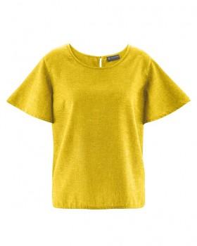 BELL dámský top s krátkými rukávy z konopí a biobavlny - žlutá curry