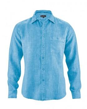 MITCH pánská košile ze 100% konopí - modrá topaz